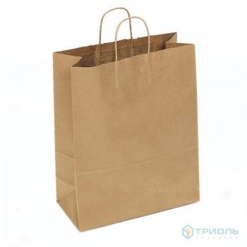 Бумажный пакет с ручками, с прямоугольным дном