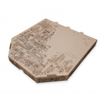 Упаковка для пиццы микрогофрокартон крафт (моноблок)
